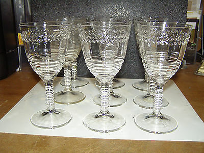 Federal Glass 1930's Laurel  Ringed pressed clear Stem Water Goblets (9)