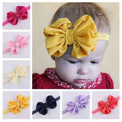 Newborn Baby Girls Satin Oversize Butterfly Bow Knot Headband Stretch Hair Band