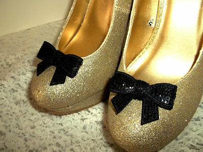 Black Bow Shoe Clips for Shoes, Wedding Accessories, Bridal, Girls, womens, new