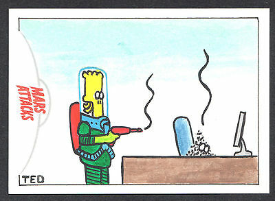MARS ATTACKS INVASION (Topps/2013) SKETCH CARD by TED DASTICK JR Dilbert!