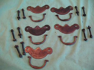 Set of 5  of old antique reclaim Georgian style brass door drawer pull handles