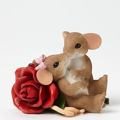 """Charming Tails Mouse Red Rose Figurine """"Loving You is My Passion"""" #4043849 NIB"""