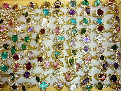 wholesale Lots mixed 30pcs assorted created CZ crystal vogue lady's gold rings