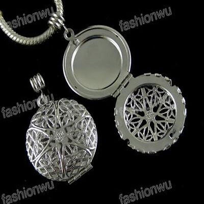 Fashion 30Pcs Carve Round Photo Locket Frame Bead Fit Bracelet Charm