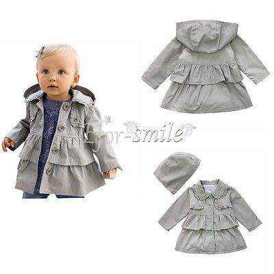 Kids Toddler  Girls Fleece Long Wind Warm Trench Coat Jacket Outerwear Clothes