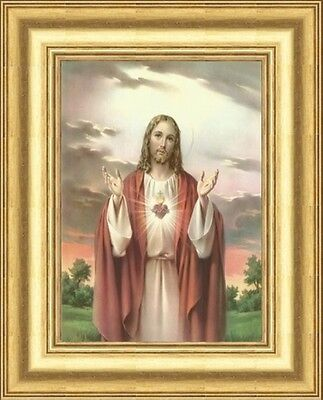The Sacred Heart Of Jesus Picture - Gold Moulded Frame Other Frames Are Listed