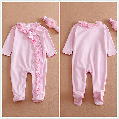0~7M Newborn Baby Girls Romper Long Sleeve Headband Clothes Jumpsuit Outfits Set