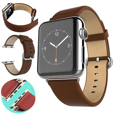 Leather Wrist Band Strap for Apple Watch iWatch Series 2/1 38mm/42mm + Adapters