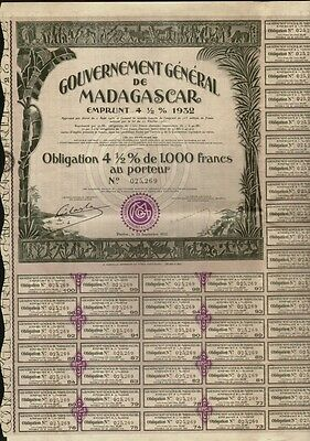 AFRICA  MADAGASCAR Government Bond 4.5% 1,000 Francs dd 1932 with dividend coup