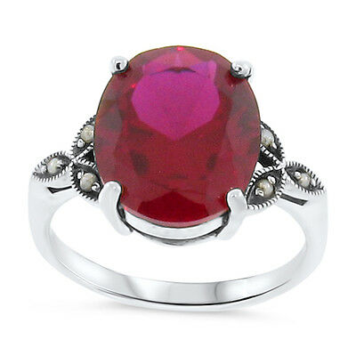 7 Ct Lab Ruby Antique Victorian Style .925 Sterling Silver Ring Size 8.75,  #103