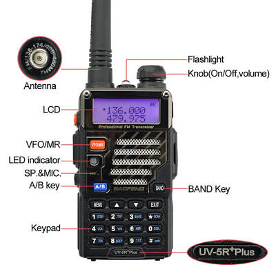 BaoFeng UV-5R Plus + Earphone Mic VHF/UHF Dual Band 2M/70CM Ham Two-way Radio