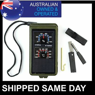 10 in 1 SURVIVAL TOOL Compass Fire Starter Flint Thermometer ARMY TACTICAL GEAR
