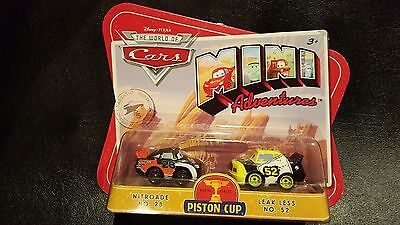 DISNEY PIXAR CARS MINI ADVENTURES PISTON CUP NITROADE No 28 fuite LESS No 52!
