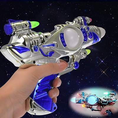 LED Space Toy Gun Pistol Flashing Light Multi-Color & Sound Effects B20E