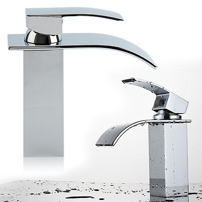 Wide Waterfall Basin Sink Tap Square Mixer Chrome Brass Faucet  Modern Bathroom