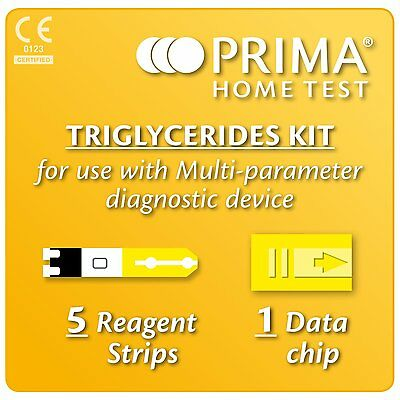 5 Triglycerides Blood Test/Testing Strips 4 Prima 2-In-1/3-In-1 Multicare Meter