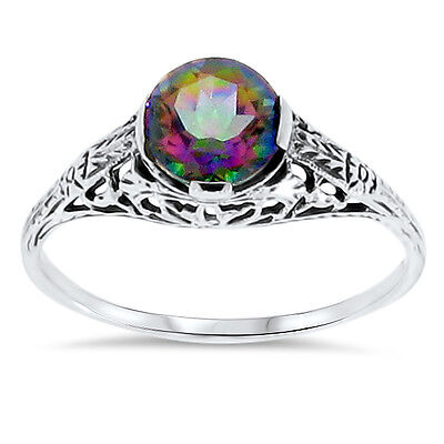 HYDRO MYSTIC QUARTZ 925 STERLING SILVER ANTIQUE STYLE FILIGREE RING Sz 9.75,#60