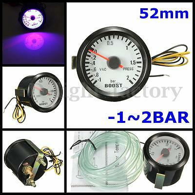 "2"" 52mm Car LED Light PSI Turbo Boost Vacuum Press Gauge Digital Meter【-1~2BAR】"