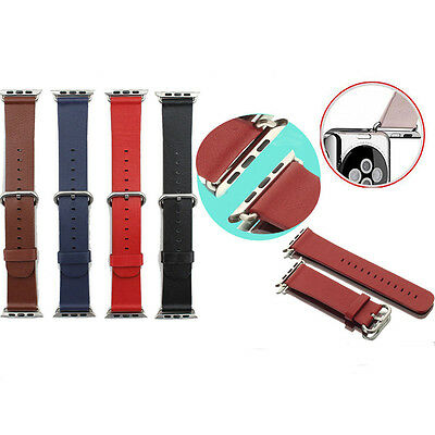 Luxury Leather Watch Band Strap Bracelet Classic Buckle For Apple Watch iWatch