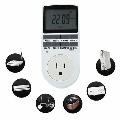 7 Day Digital Programmable Timer Socket LCD Plug-in Switch Outlet 12/24 Hour US