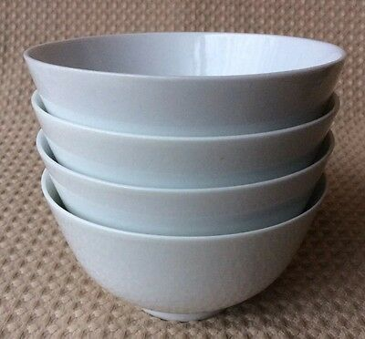 "Set of 4 White Porcelain Rice Soup Bowls Footed 5"" Vtg Plain Solid White Simple"