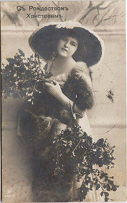 """Imperial RUSSIA """"Merry Christmas"""" Lady with Christmas Bouquets POSTCARD 1912"""