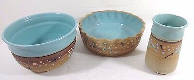 Set of 3 Stoneware Pottery SIGNED By Artist Hill - Decorative Design Teal