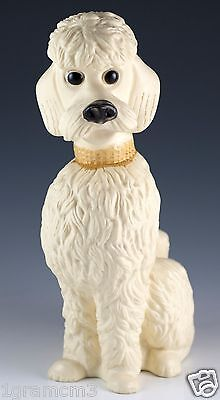 Vintage Thrifti Check Ser Plastic Poodle Dog Bank 7.75 inch With Stopper