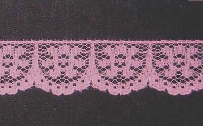 CRAFT-SEWING 18mm Hot Pink Scallop Design Soft Lace (mtr varieties available)