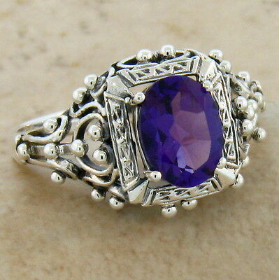 Lab Amethyst Antique Victorian Design 925 Silver Ring Size 6.75,            #349
