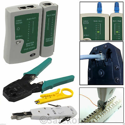 RJ45 Ethernet Network Cable Tester Crimping Crimper Stripper Punch Down Tool Kit