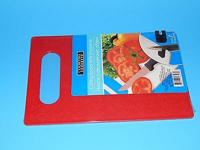New Kitchen Cooking Concepts Red Cutiing Board with Knife Sharpener Gift Home