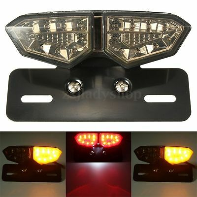 Motorcycle LED Brake Stop Rear Tail Turn Signal License Plate Integrated Light