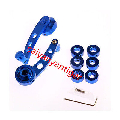 2 X BlUE Billet Aluminum Car Truck Manual Window Glass Door Crank Handle Winder