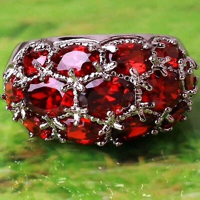 Free Shipping Oval Cut Garnet Gemstone Silver Ring Size 6 7 8 9 10 11 12 13
