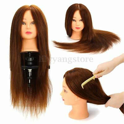 """24"""" 100% Salon Real Hair Mannequin Practice Training Head Hairdressing & Clamp"""