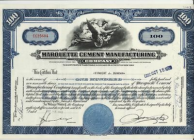MARQUETTE CEMENT MANUFACTURING CO IL ( now Lone Star ) old stock certificate