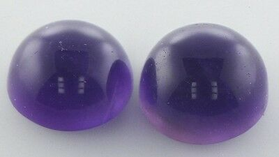 A PAIR OF 6mm ROUND CABOCHON-CUT NATURAL AFRICAN AMETHYST GEMSTONES