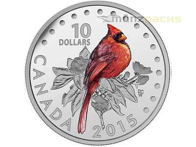10 $ Dollar Colourful Songbirds The Northern Cardinal Kanada 2015 PP Silber