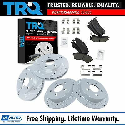 REAR SET Performance Cross Drilled Slotted Brake Disc Rotors TBS35921 FRONT