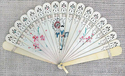 1950s Vintage SOVIET CHINA Painted FOLDING FAN Full AUTHENTIC Not Retro Replica
