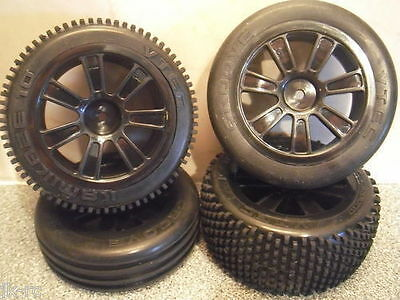New Front+Rear 1/10 2WD Buggy Wheels+Tyres For Ansmann Mad Rat+LRP Twister Buggy
