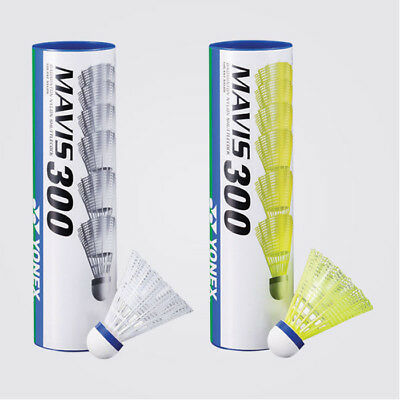 Yonex Mavis 300 Medium Speed Nylon Shuttlecocks Tube of 6 White / Yellow rrp£19