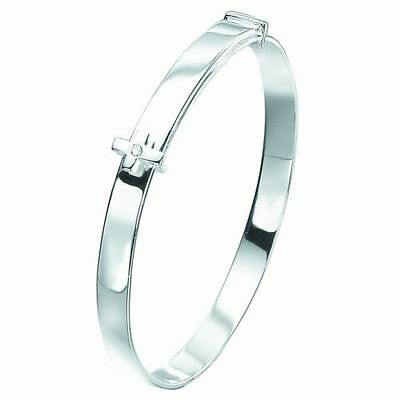 Silver Adjustable D For Diamond Cross Baby Boys Bangle - Gift Boxed - RRP £65