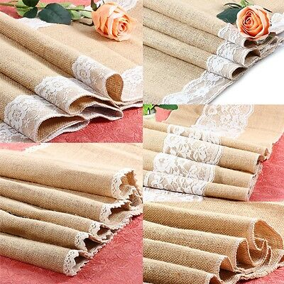 "12 X 96""Burlap Lace Table Runner Natural Jute Rustic Wedding Decoration New flag"