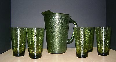 Vintage Mid Century Caprice 7 Piece Refreshment Set Forest Green Glasses Pitcher