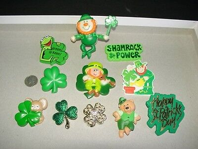 Lot of 11 - ST PATRICK'S DAY PINS - leprechaun shamrock brooch - Hallmark, other