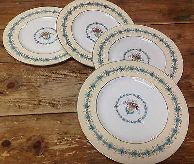 4 Dinner Plates Queen Elizabeth Coalport England 9448 Bone China Floral Basket