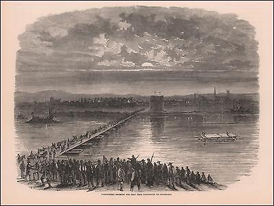COVINGTON, Kentucky, Civil War Scene, antique engraving original 1866