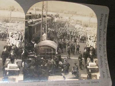 Entraining for Return Home Germany 2nd Div.  #18735 WWI Keystone Stereoview